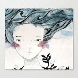 One With the Sea // ink //watercolor   Canvas Print