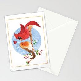 Christmas lovebirds Stationery Cards