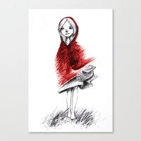 red hood Canvas Prints featuring Red Hood by Chawakarn Khongprasert