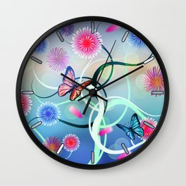 Dahlias and Vines Wall Clock