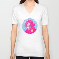 beethoven V-neck T-shirts featuring Ludwig van Beethoven 18 by Marko Köppe