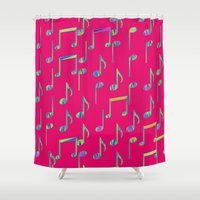 music notes Shower Curtains featuring Music Notes on Bright Pink by pugmom4