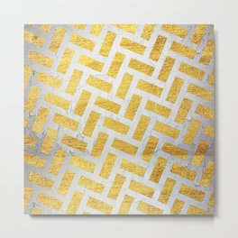 Brick Pattern 1 in Gold and Silver Metal Print