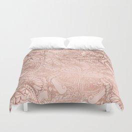 Modern rose gold floral illustration on blush pink Duvet Cover
