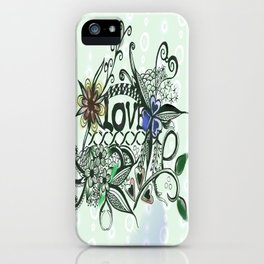 """Pen and ink drawing illustration,""""LOVE"""" wall art, home decor design iPhone Case"""