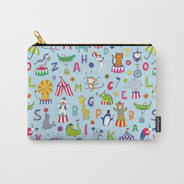 Circus Animal Alphabet - multi on pale blue Carry-All Pouch