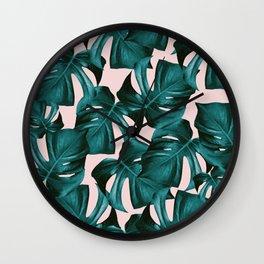 Tropical Monstera Leaves Pattern #1 #foliage #decor #art #society6 Wall Clock