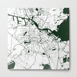 Amsterdam White on Green Street Map Metal Print