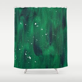 Green and Blue Splatter Shower Curtain