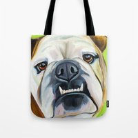 english bulldog Tote Bags featuring English Bulldog by Melissa Smith Pet Art