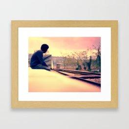 Waiting for the train to Wonderland Framed Art Print