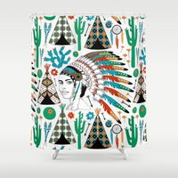 headdress Shower Curtains featuring Headdress by Vannina