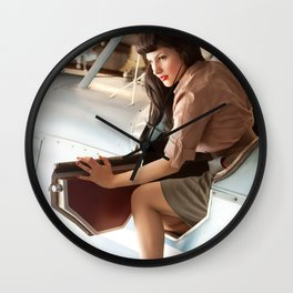 """Flight Deck"" - The Playful Pinup - Airplane Pilot Pin-up Girl by Maxwell H. Johnson Wall Clock"