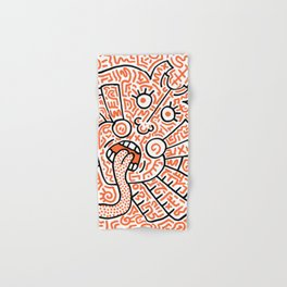 """The Face"" - inspired by Keith Haring v. orange Hand & Bath Towel"