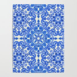 Cobalt Blue & China White Folk Art Pattern Poster