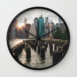 Sunset on Manhattan Wall Clock