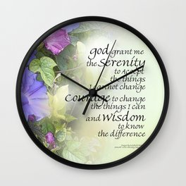 Serenity Prayer Morning Glories Glow Wall Clock