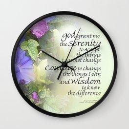 Serenity Prayer Morning Glories Glow Wall Clock