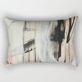 Sweet Tart [2]: a minimal abstract mixed-media piece in pink black and white by Alyssa Hamilton Art Rectangular Pillow