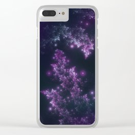 Fractal Leaves Violet Glow Clear iPhone Case
