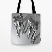 robots Tote Bags featuring Robots by Carlo Toffolo