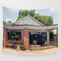 cafe Wall Tapestries featuring Whistlestop Cafe  by Tiffany Dawn Smith