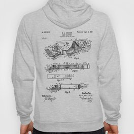 Barber Hair Clippers Patent - Barber Shop Art - Black And White Hoody