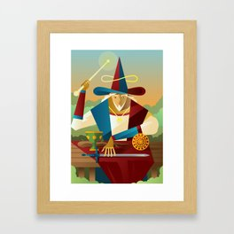magician juggler with cup, wooden staff, sword and gold tarot card Framed Art Print