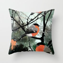 Bullfinches Throw Pillow