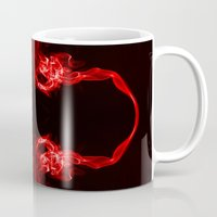 headphones Mugs featuring Red Headphones by Steve Purnell
