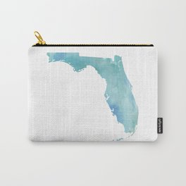 Watercolor State Map - Florida FL blue green Carry-All Pouch