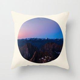 Purple & Blue Sunrise Over Mountain Range Circle Photo Throw Pillow