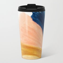 Slow as the Mississippi - Acrylic abstract with pink, blue, and brown Travel Mug