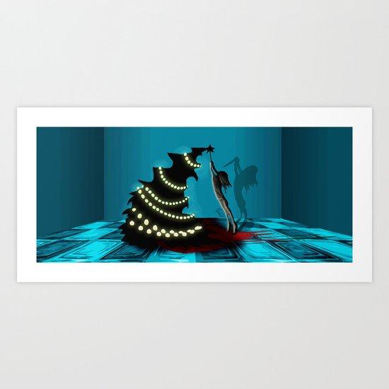 BLACK XMAS: Decorating the Christmas Tree Art Print