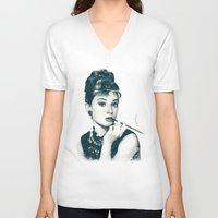 hepburn V-neck T-shirts featuring My Hepburn by Thubakabra