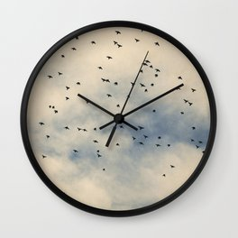 Starlings and Sky iii - Silhouetted Birds and Pastel Clouds Wall Clock