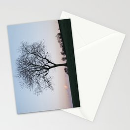 Tree on a hilltop above Matlock silhouetted at twilight. Derbyshire, UK. Stationery Cards