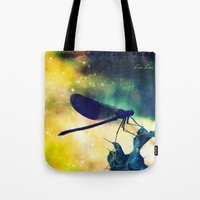 dragonfly Tote Bags featuring Dragonfly by Luiza Lazar