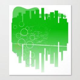 Abstract Green Guitar City Canvas Print
