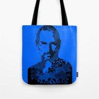 steve jobs Tote Bags featuring Steve Jobs blue by Rebecca Bear
