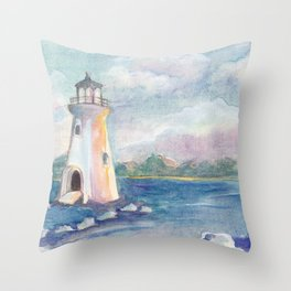 lighthouse on the seashore by watercolor Throw Pillow