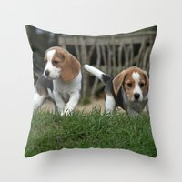 puppies Throw Pillows featuring Beagle puppies by Martina Berg