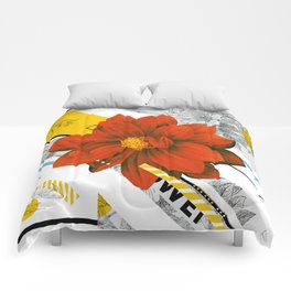 red flower collage Comforters