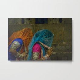 Veiled Ghoomar Dancers Metal Print