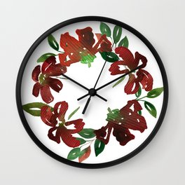 Autumn Watercolor Burgundy Flowers Wall Clock