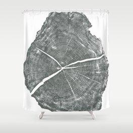 Locust Tree ring image, woodcut print Shower Curtain