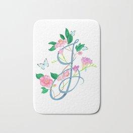 Floral monogram letter J Bath Mat