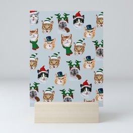 Funny Christmas Cats, Lovely Fun Cats Design Mini Art Print
