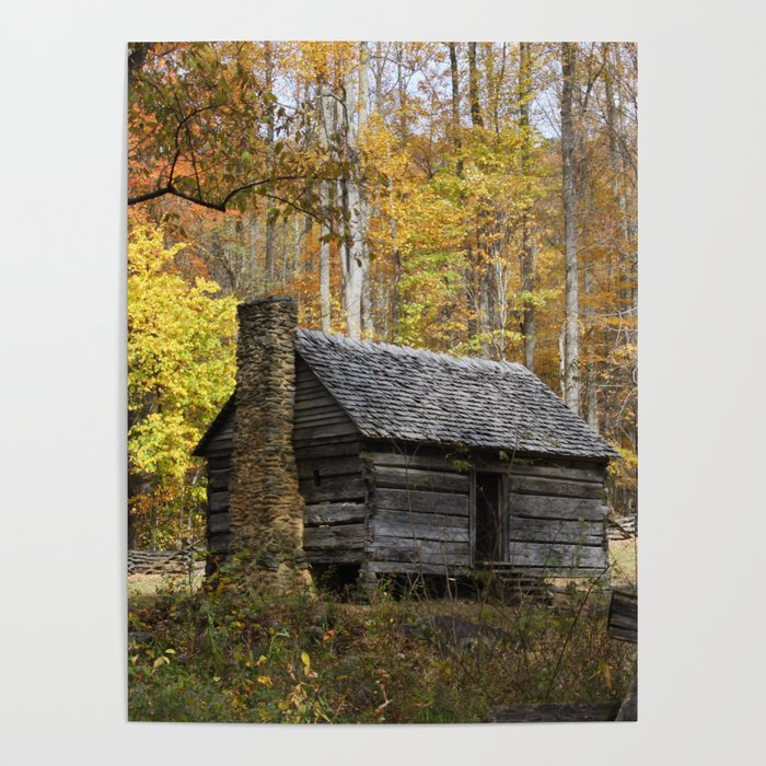 Smoky Mountain Rural Rustic Cabin Autumn View Poster By Gsallicat