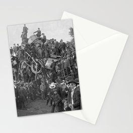 1896 Train Wreck, Buckeye Park in Lancaster, Ohio black and white photography / photograph Stationery Cards